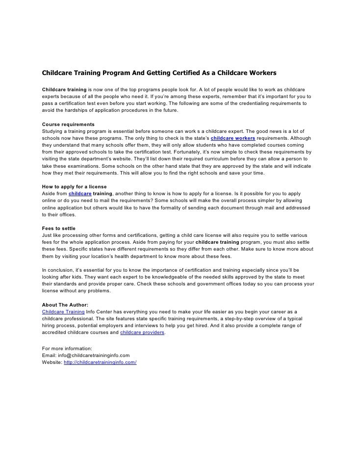childcare training program and getting certified as a childcare worke…