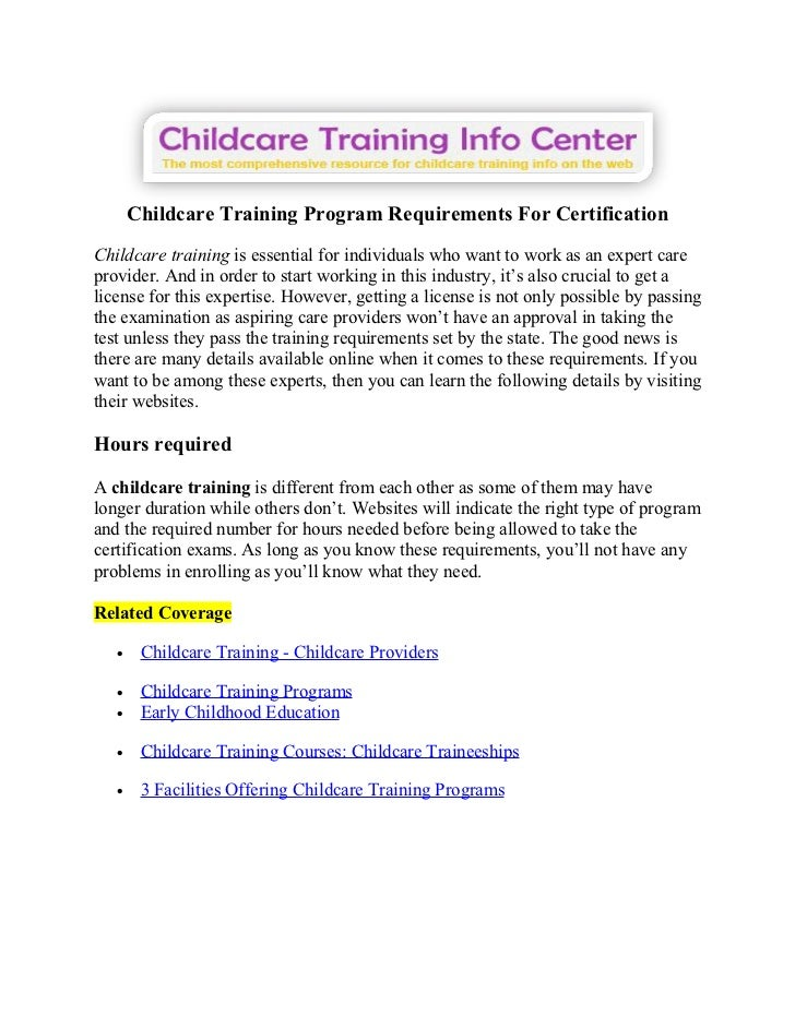 Childcare Training Program Requirements For Certification
