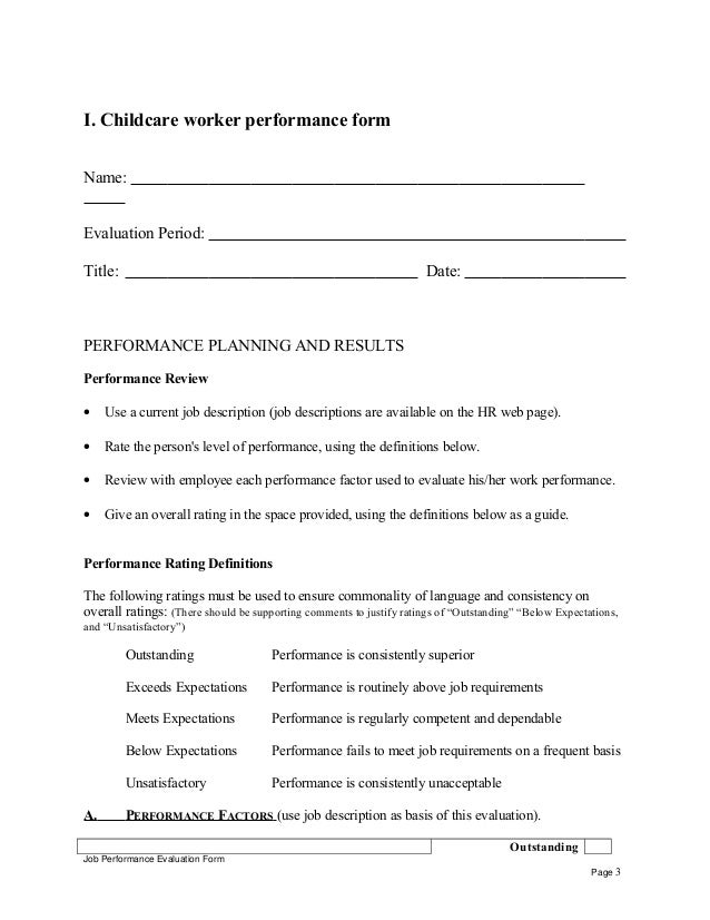Childcare worker performance appraisal