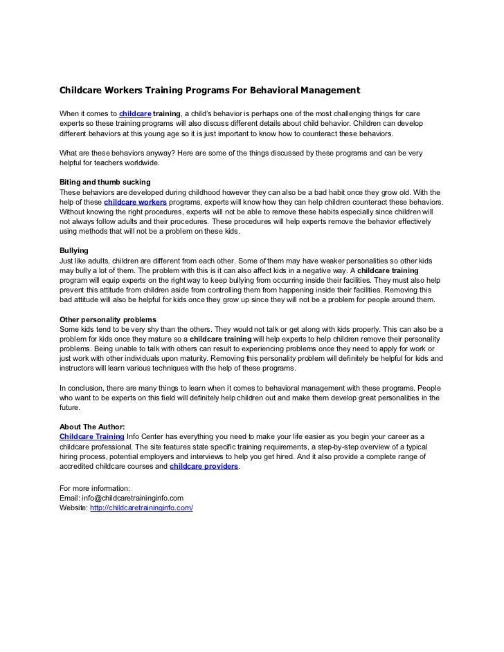 Childcare Workers Training Programs For Behavioral