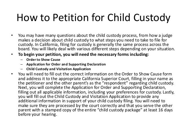 Child Custody Information in California
