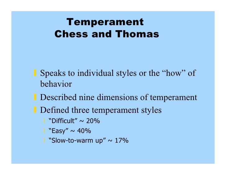 temperament thomas and chess Child temperament, parenting styles, and internalizing and externalizing behaviors as part of a comprehensive assessment tool by (chess & thomas, 1986.