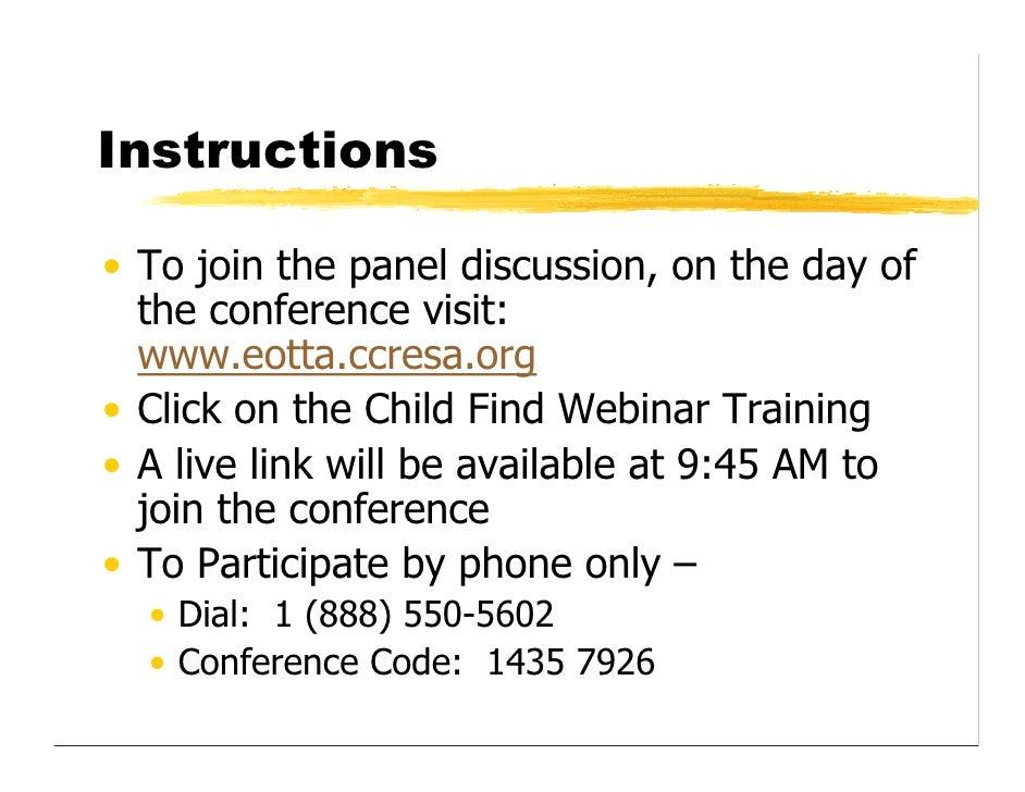 Child Find Webinar Dec 2008 Slide 2