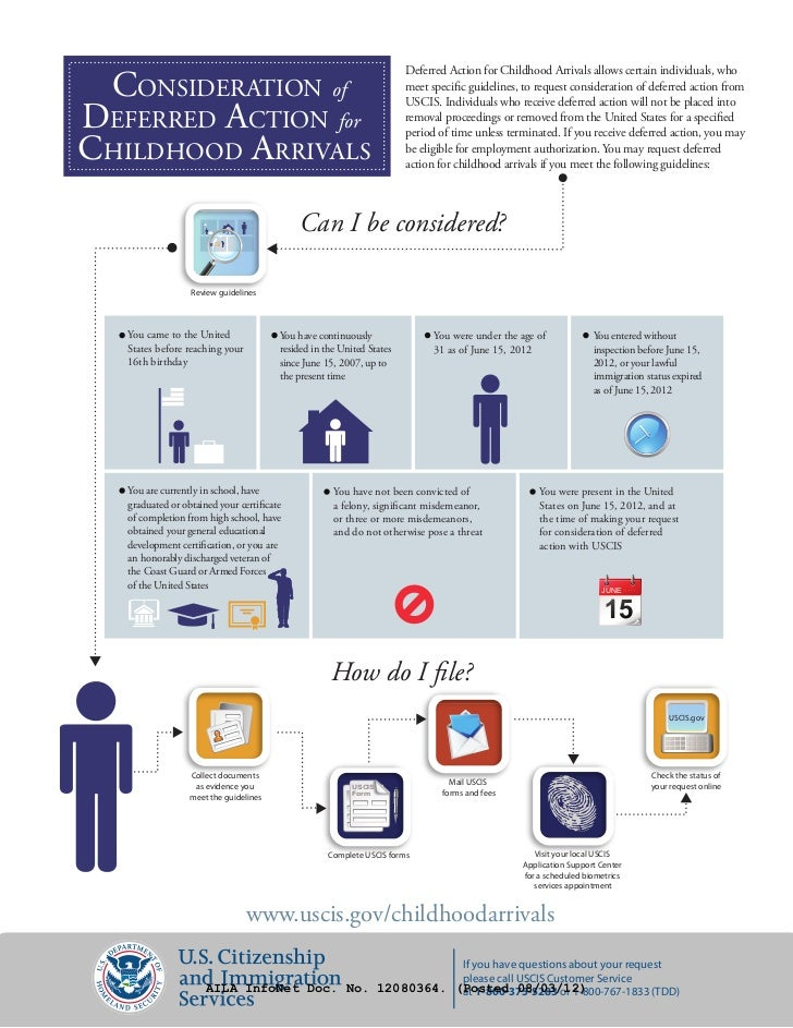 Deferred Action for Childhood Arrivals allows certain individuals, who CONSIDERATION of                                   ...