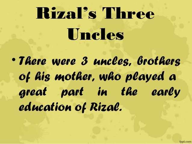 rizal s childhood days • among rizal's sisters was his happy days in the family garden when he was three years chapter 2: childhood years in calamba • his father built a little.