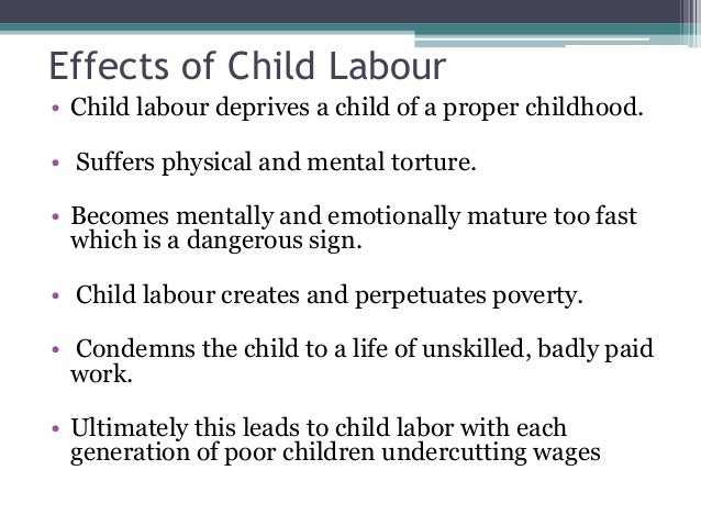 Child Labour - Causes and Effects