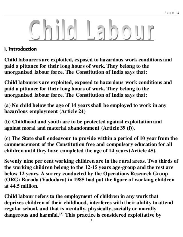 "3 Replies to ""Short Essay On Child Labour /Labor"""