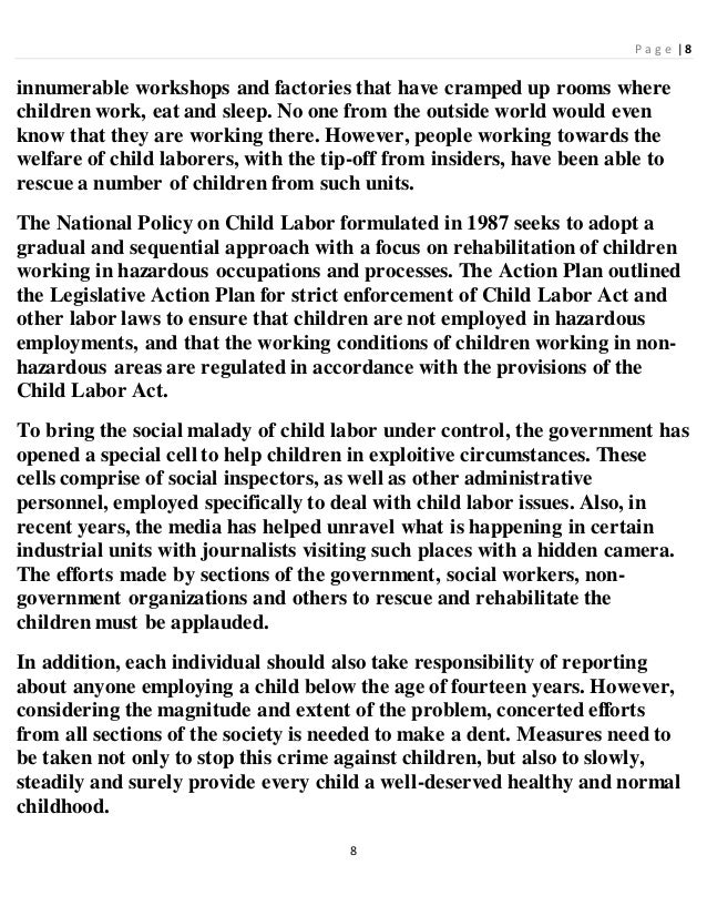 child labour 6 essay Free essay: eliminating child labour: do ngo interventions add up to a strategy rekha wazir the involvement of non-governmental organisations (ngos) in.