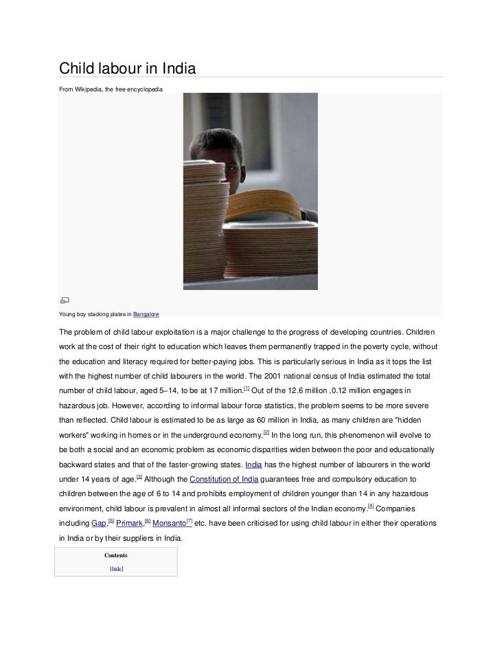 Child labour in IndiaFrom Wikipedia, the free encyclopediaYoung boy stacking plates in BangaloreThe problem of child labou...