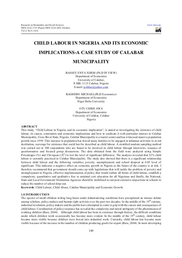 child labour in ia and its economic implications a case study of  research on humanities and social sciences