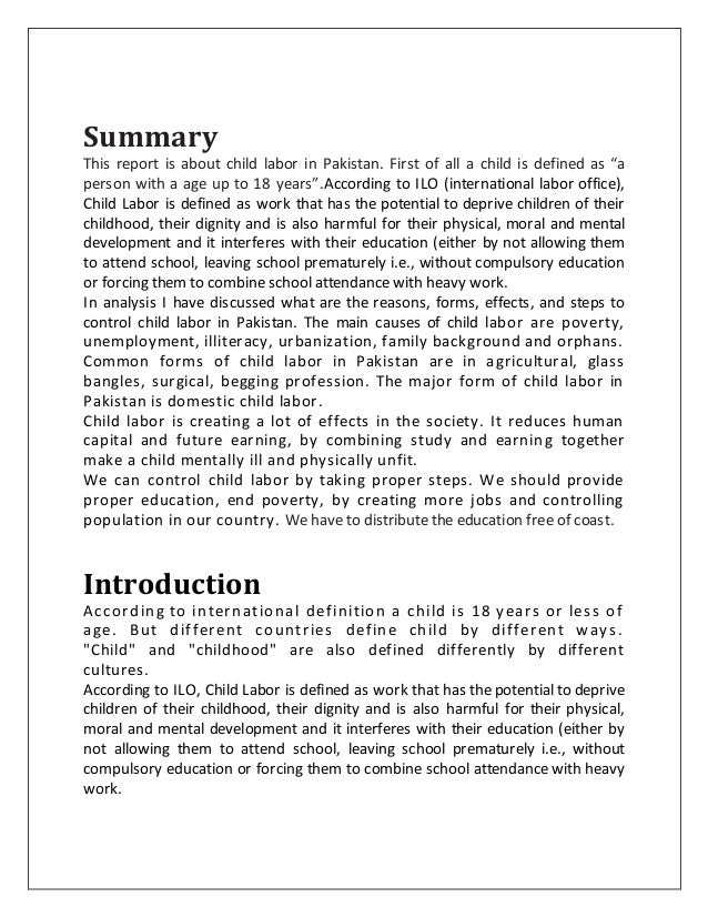 Report On Child Labour In Pakistan Essay - image 3