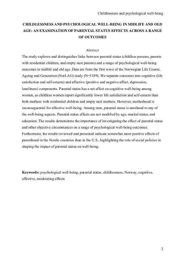 Childlessness and psychological wellbeing in midlife and old age an e…