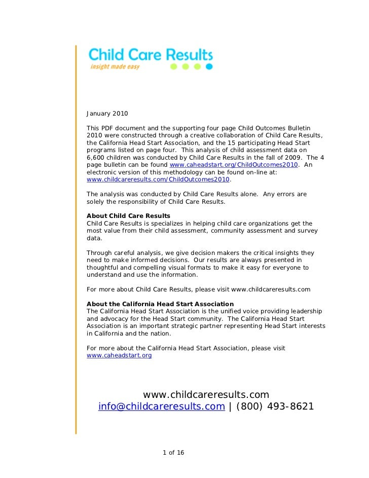 January 2010This PDF document and the supporting four page Child Outcomes Bulletin2010 were constructed through a creative...