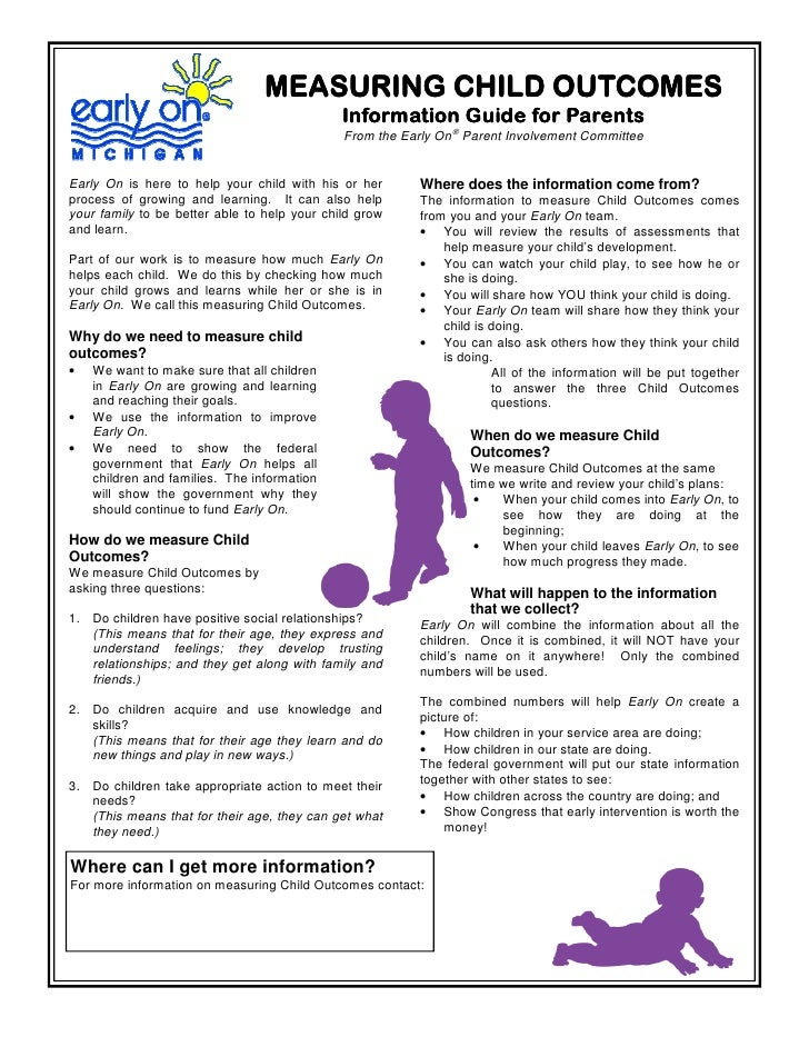 MEASURING CHILD OUTCOMES                                               Information Guide for Parents                      ...