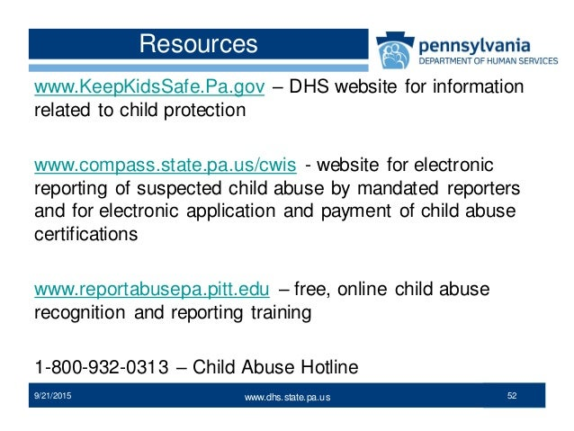 Child protection legislation in PA .dhs