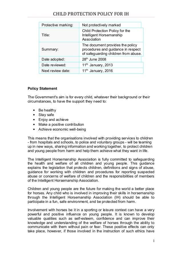 CHILD PROTECTION POLICY FOR IH        Protective marking:       Not protectively marked                                  C...