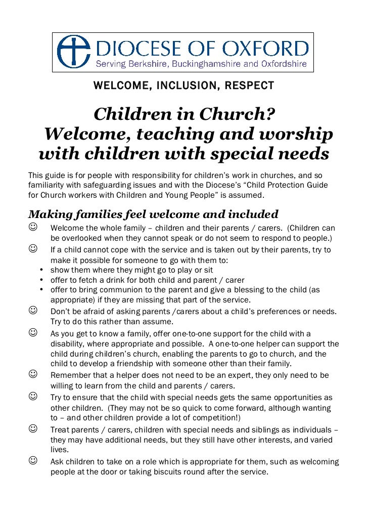 WELCOME, INCLUSION, RESPECT        Children in Church?  Welcome, teaching and worship  with children with special needsThi...