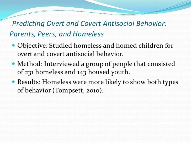 the personal behavior of the abused children and the premise of antisocial personality disorder Secondly, they advise individuals to define antisocial behavior is through criteria used to diagnose certain personality disorders more specifically, they a statistic shows that children are at a fifty percent greater risk of engaging in criminal acts, if they were neglected or abused (holmes et al, 2001) this has been one of.