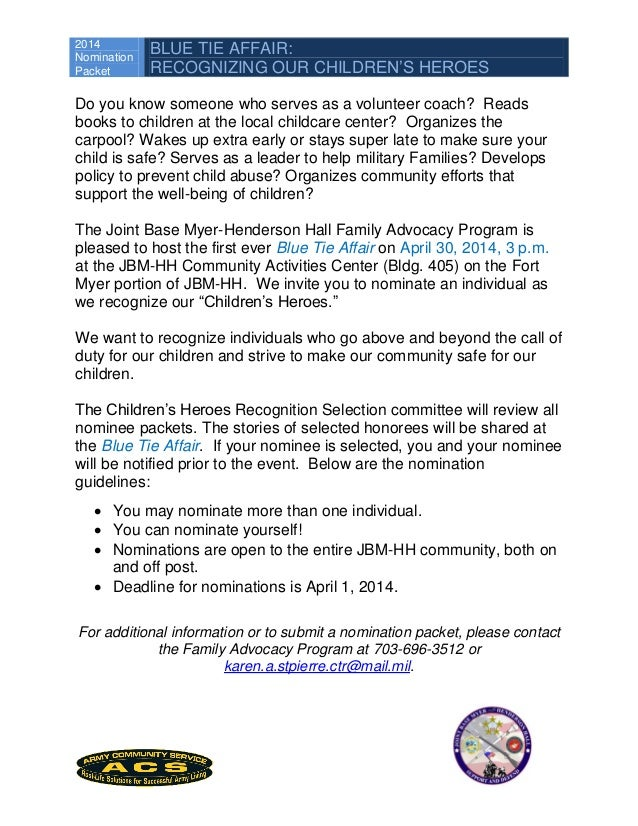2014 Nomination Packet BLUE TIE AFFAIR: RECOGNIZING OUR CHILDREN'S HEROES Do you know someone who serves as a volunteer co...
