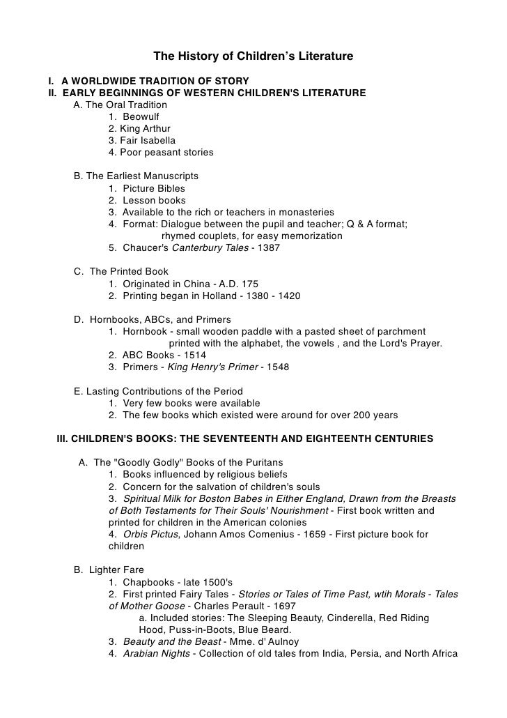 Childrens literature history outline for Story outline template for kids