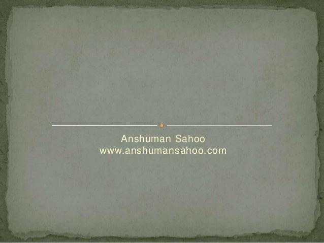 Anshuman Sahoo www.anshumansahoo.com