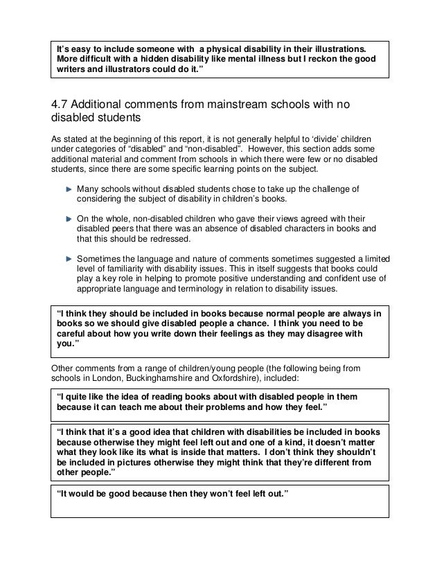 4.7 Additional comments from mainstream schools with nos stated at the beginning of this report, it is not generally helpf...
