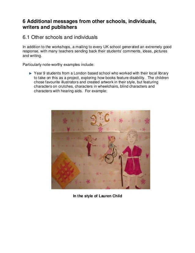 6 Additional messages from other schools, individuals,writers and publishers6.1 Other schools and individualsIn addition t...