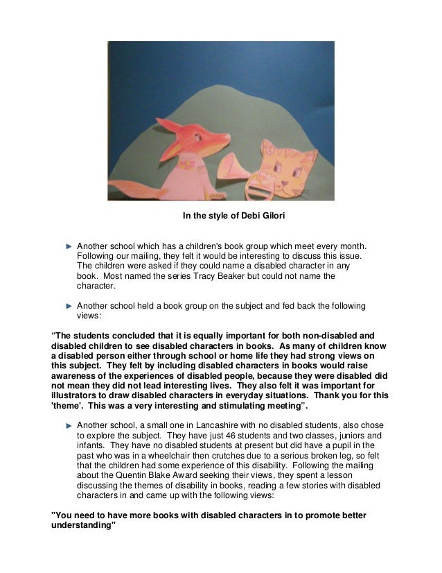 In the style of Debi GiloriAnother school which has a childrens book group which meet every month.Following our mailing, t...