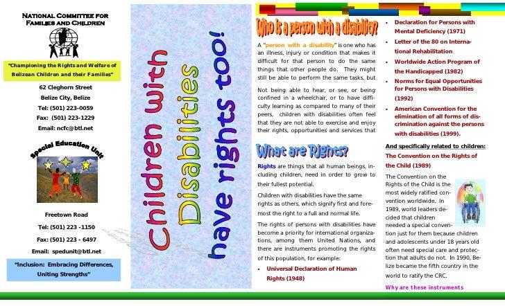 Children W Disabilities Pamphlet