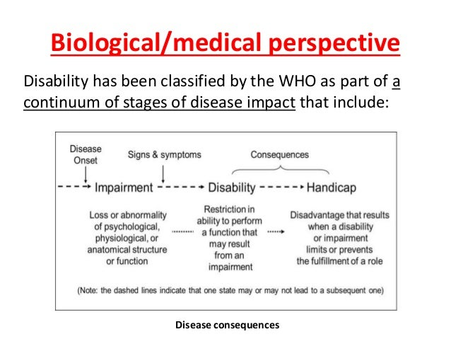 Biological/medical perspective  Disability has been classified by the WHO as part of a  continuum of stages of disease imp...