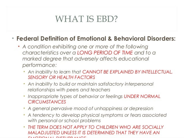 Children With Emotional & Behavioral Disorders