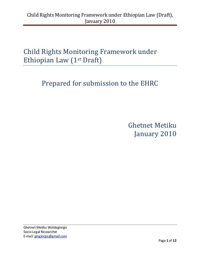 Child Rights Monitoring Framework under Ethiopian Law (Draft),                           January 2010Child Rights Monitori...