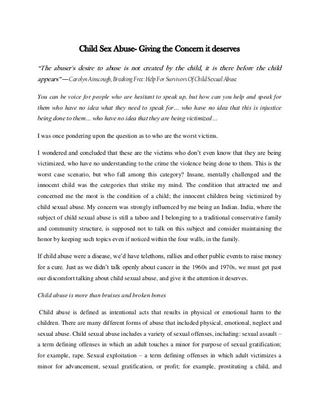 conclusion of a child abuse essay What i should write in the conclusion about child abuse persuasive essay child abuse is one of the saddest and conclusion for my persuasive essay.