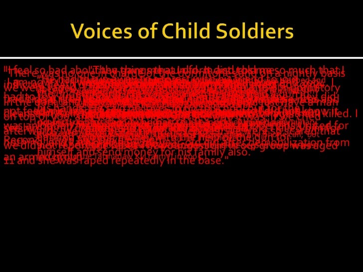 child soldiers report 2012 One of the most worrying trends is the increase in child victims from 2003—2006 the global report on trafficking in persons 2012 was produced under the.