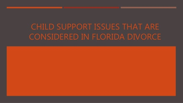 CHILD SUPPORT ISSUES THAT ARE CONSIDERED IN FLORIDA DIVORCE