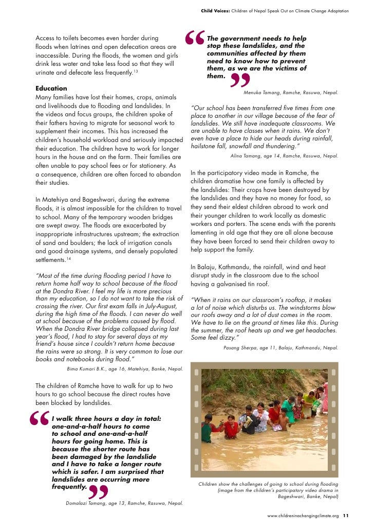 Child Voices: Children of Nepal Speak Out on Climate Change Adaptation     Access to toilets becomes even harder during   ...