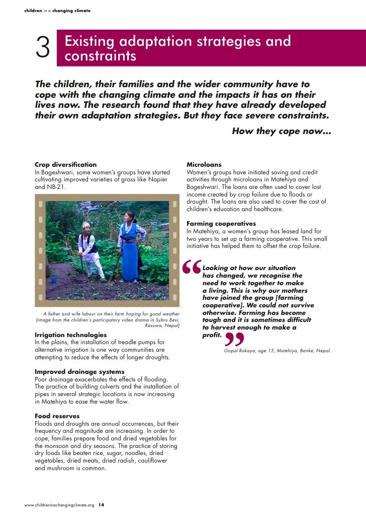 children in a changing climate         3             Existing adaptation strategies and                   constraints     ...