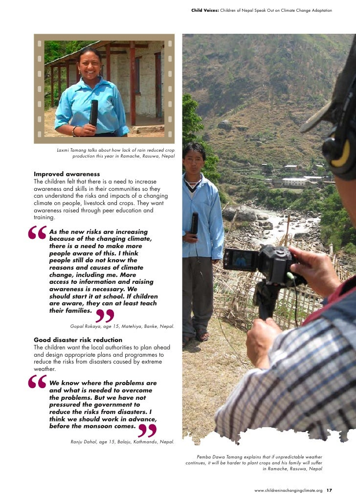 Child Voices: Children of Nepal Speak Out on Climate Change Adaptation             Laxmi Tamang talks about how lack of ra...