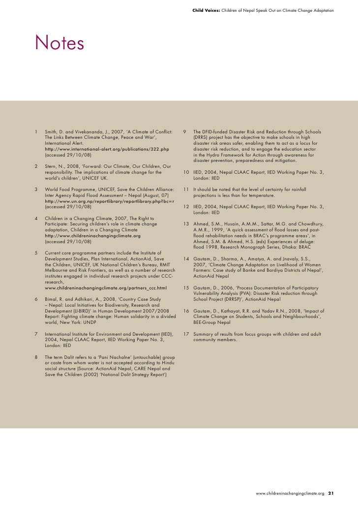 Child Voices: Children of Nepal Speak Out on Climate Change Adaptation     Notes    1   Smith, D. and Vivekananda, J., 200...