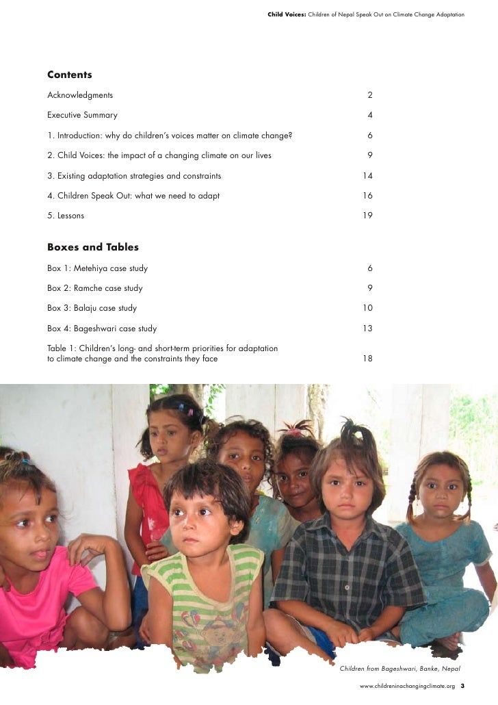Child Voices: Children of Nepal Speak Out on Climate Change Adaptation     Contents  Acknowledgments                      ...