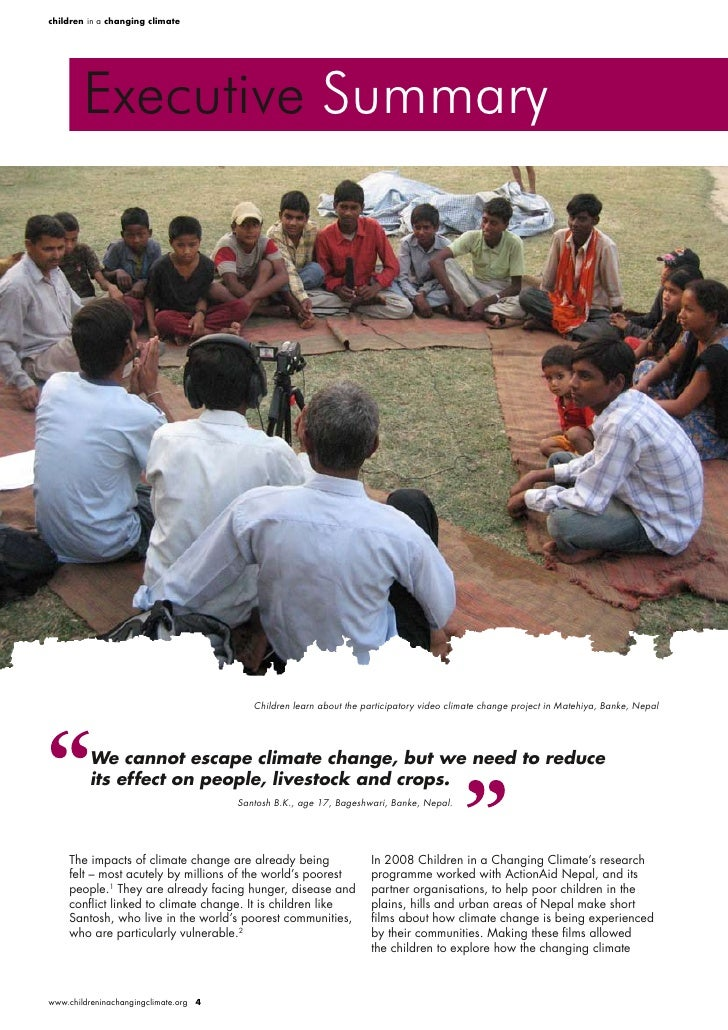 children in a changing climate             Executive Summary                                               Children learn ...