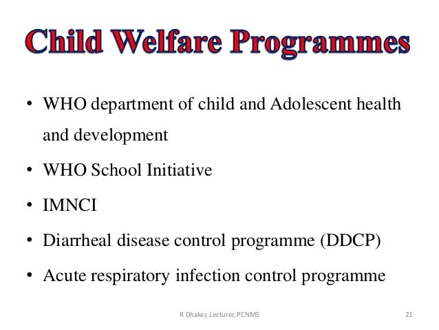 Child welfare programmes in india pdf