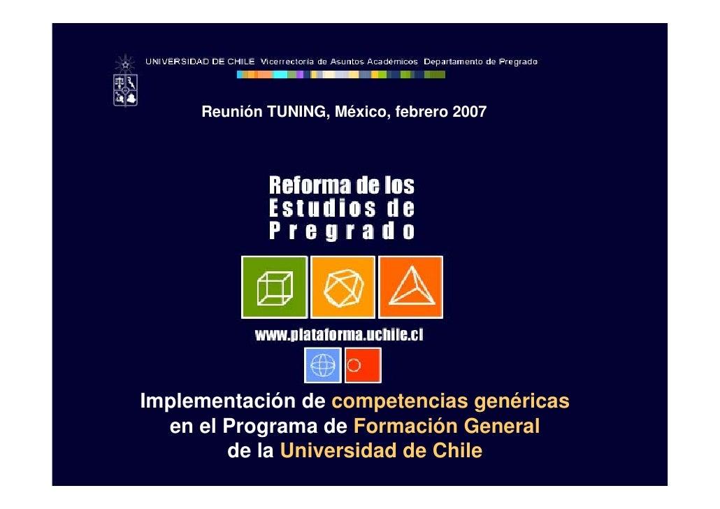 Reunión TUNING, México, febrero 2007     Implementación de competencias genéricas   en el Programa de Formación General   ...