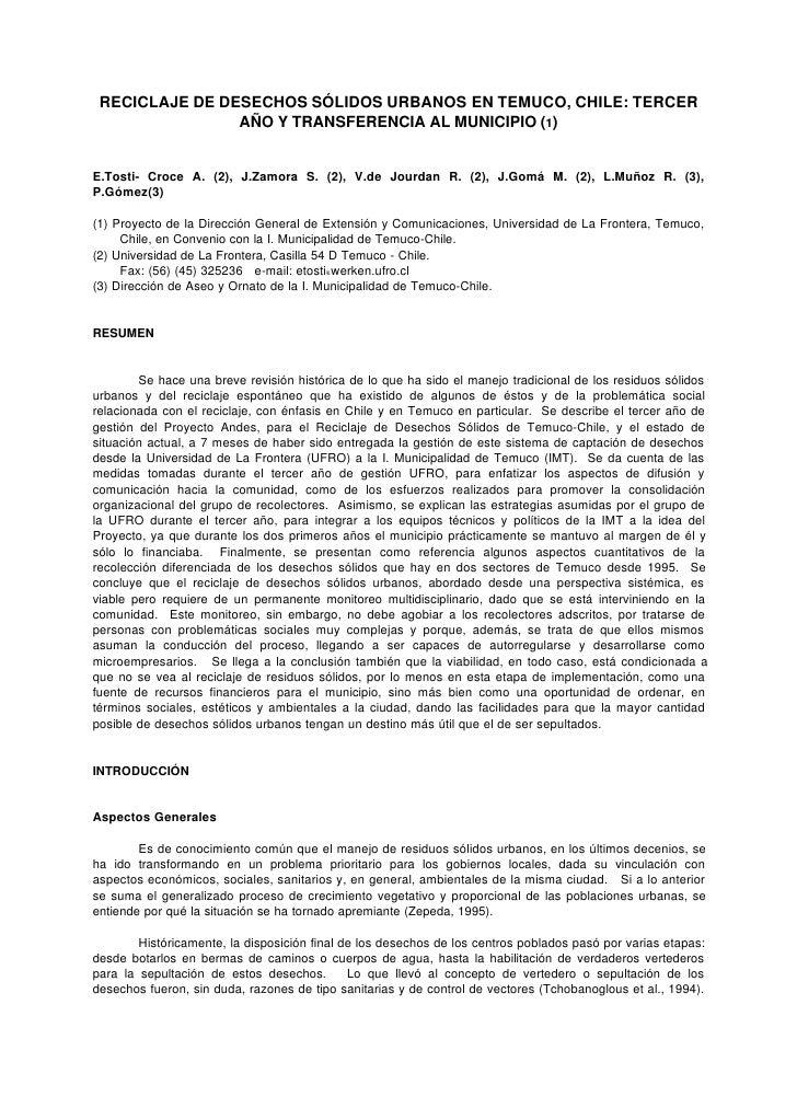 RECICLAJE DE DESECHOS SÓLIDOS URBANOS EN TEMUCO, CHILE: TERCER                AÑO Y TRANSFERENCIA AL MUNICIPIO (1)E.Tosti-...