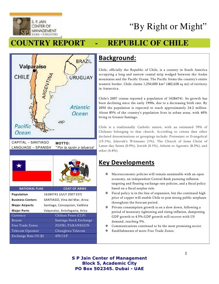 """By Right or Might"" COUNTRY REPORT                                         -        REPUBLIC OF CHILE                     ..."