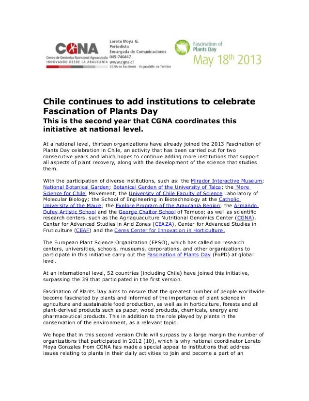 Chile continues to add institutions to celebrateFascination of Plants DayThis is the second year that CGNA coordinates thi...