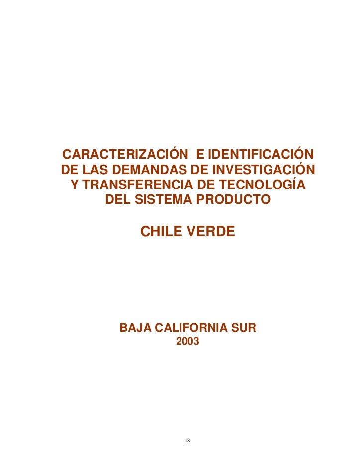 CARACTERIZACIÓN E IDENTIFICACIÓNDE LAS DEMANDAS DE INVESTIGACIÓN Y TRANSFERENCIA DE TECNOLOGÍA      DEL SISTEMA PRODUCTO  ...
