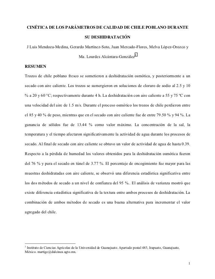 CINÉTICA DE LOS PARÁMETROS DE CALIDAD DE CHILE POBLANO DURANTE                                         SU DESHIDRATACIÓN  ...