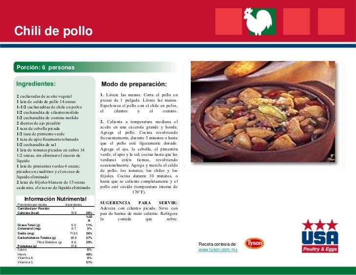 Chili de polloPorción: 6 personas2 cucharadas de aceite vegetal                          1. Lávate las manos. Corta el pol...