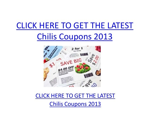 graphic relating to Chilis Printable Coupon identified as Chilis Discount coupons 2013 - Printable Chilis Coupon codes 2013